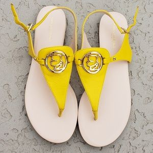 Karl Lagerfel EUC sandals size 8.5 yellow leather